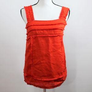 J. Crew Orange Fringe Sleeveless Top Size 4 T Tall